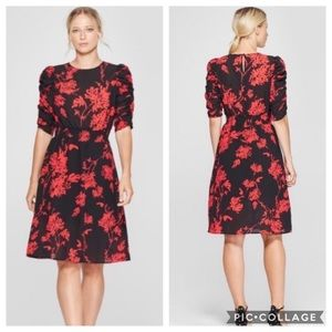 Who What Wear Red and Black Floral Dress NWOT